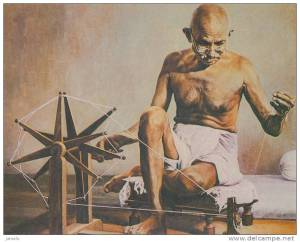 "Mahatma Gandhi""s weapon of mass destruction. The Charkha spinning wheel."